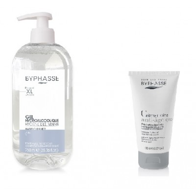 BY DUO Gel mains hydroalcoolique 750ml + Crème a Mains Anti-Age 150ml Gratuite